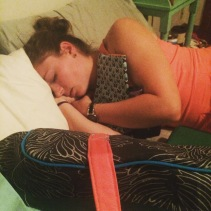 She fell asleep snuggling with the stuff I made her while I sewed in the lining of her weekender.